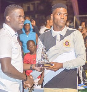 Kadeem Duncan  multiple awardee at NEFL  presentation ceremony