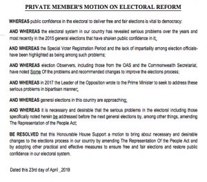 Debate on Electoral Reform shelved after Opposition rejects Government's Amendment