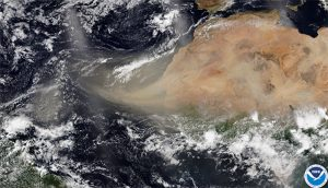 Large Saharan Dust Plume affects the  islands
